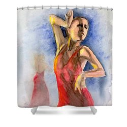 Shower Curtain featuring the painting A Flamenco Dancer  2 by Yoshiko Mishina