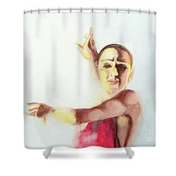 Shower Curtain featuring the painting A Flamenco Dancer by Yoshiko Mishina