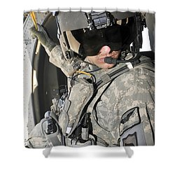A Flight Medic Conducts A Daily Shower Curtain by Stocktrek Images