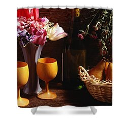 A Floral Display Shower Curtain by David Chapman