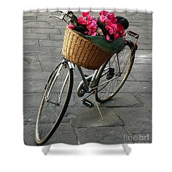 A Flower Delivery Shower Curtain by Vivian Christopher