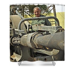 A Free Libyan Army Soldier Mans Shower Curtain by Andrew Chittock