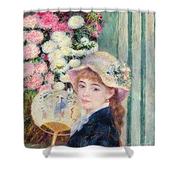 A French Girl With A Fan Shower Curtain by Pierre Auguste Renoir