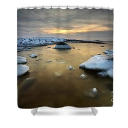 A Frozen, Rusty Bay On Andoya Island Shower Curtain by Arild Heitmann