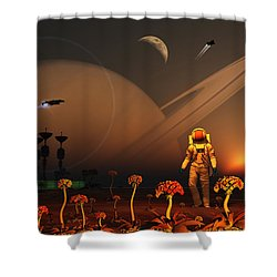 A Futuristic Outpost On The Moon Shower Curtain by Mark Stevenson