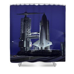 A Futuristic Space Shuttle Awaits Shower Curtain by Walter Myers