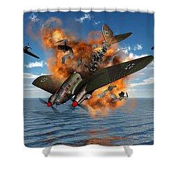 A German Heinkel Bomber Crashes Shower Curtain by Mark Stevenson