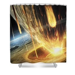 A Giant Asteroid Collides Shower Curtain by Tobias Roetsch