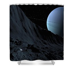 A Gigantic Scarp On The Surface Shower Curtain by Ron Miller