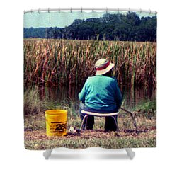 A Great Day Fishing Shower Curtain by Patricia Greer