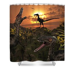 A Group Of Feathered Carnivorous Shower Curtain by Mark Stevenson