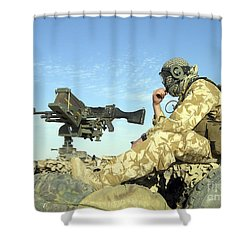 A Gunner Sits Atop A British Army Wmik Shower Curtain by Andrew Chittock