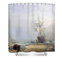 A Hazy Morning On The Coast Of Devon Shower Curtain by Samuel Phillips Jackson