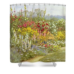 A Herbaceous Border Shower Curtain by Helen Allingham