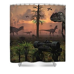 A Herd Of Allosaurus Dinosaur Cause Shower Curtain by Mark Stevenson