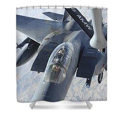 A Kc-135 Stratotanker Refuels An F-15e Shower Curtain by Stocktrek Images