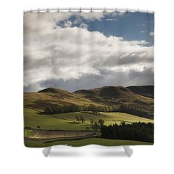 A Landscape With Rolling Hills And Shower Curtain by John Short