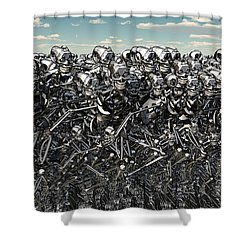 A Large Gathering Of Robots Shower Curtain by Mark Stevenson