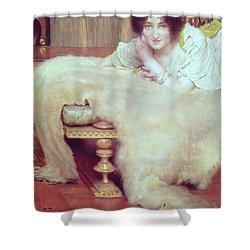 A Listener - The Bear Rug Shower Curtain by Sir Lawrence Alma-Tadema
