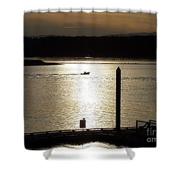 A Lone Boat At Sunset Shower Curtain