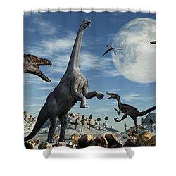 A Lone Camarasaurus Dinosaur Shower Curtain by Mark Stevenson