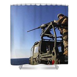 A Machine Gunner Mounts A M-2 Shower Curtain by Stocktrek Images