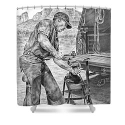 A Man And His Trade - Farrier Art Print Shower Curtain