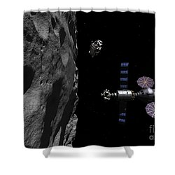 A Manned Maneuvering Vehicle Descends Shower Curtain by Walter Myers
