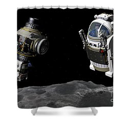 A Manned Maneuvering Vehicle Prepares Shower Curtain by Walter Myers