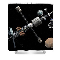 A Manned Mars Cycler Space Station Shower Curtain by Walter Myers