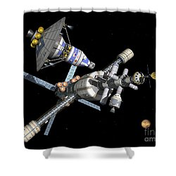 A Manned Mars Landerreturn Vehicle Shower Curtain by Walter Myers