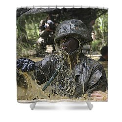 A Marine Splashes As He Makes His Way Shower Curtain by Stocktrek Images