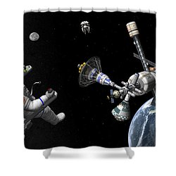 A Mars Cycler Travels By The Earth Shower Curtain by Walter Myers