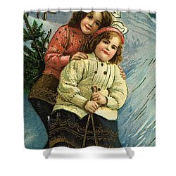 A Merry Christmas Postcard With Sledding Girls Shower Curtain by American School