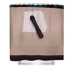 A Microphone On The Lectern Of A Presentation Room Shower Curtain by Ashish Agarwal