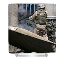 A Military Policeman Uses A Breaching Shower Curtain by Stocktrek Images