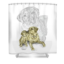 Shower Curtain featuring the drawing A Mothers Love - Labrador Dog Print Color Tinted by Kelli Swan