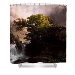 A Mountain Stream Shower Curtain by Thomas Moran