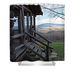 A Mountain View Shower Curtain by Robert Margetts