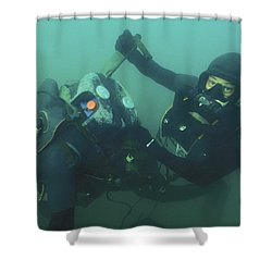 A Navy Seal Combat Swimmer Removes Shower Curtain by Michael Wood