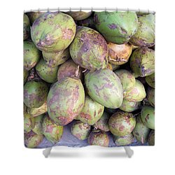 A Number Of Tender Raw Coconuts In A Pile Shower Curtain by Ashish Agarwal