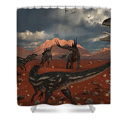 A Pack Of Allosaurus Dinosaurs Track Shower Curtain by Mark Stevenson