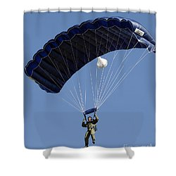 A Paratrooper Descends Through The Sky Shower Curtain by Stocktrek Images