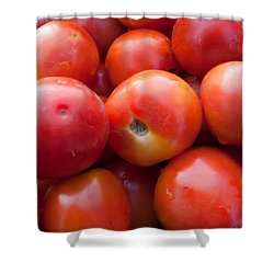 A Pile Of Luscious Bright Red Tomatoes Shower Curtain by Ashish Agarwal