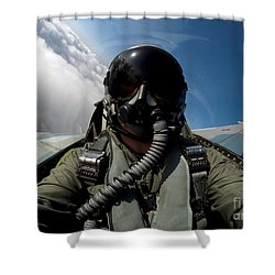 A Pilot In The Cockpit Of An F-16 Shower Curtain by Stocktrek Images