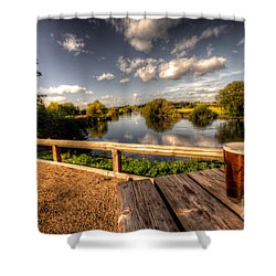 A Pint With A View  Shower Curtain by Rob Hawkins