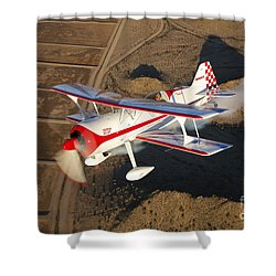 A Pitts Model 12 Aircraft In Flight Shower Curtain by Scott Germain