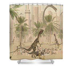 A Prehistoric City Now Void Of Any Life Shower Curtain by Mark Stevenson