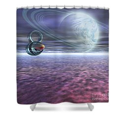 A Probe From Earth Is Sent To Jupiter Shower Curtain by Corey Ford