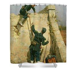A Quick Escape Shower Curtain by Etienne Prosper Berne-Bellecour